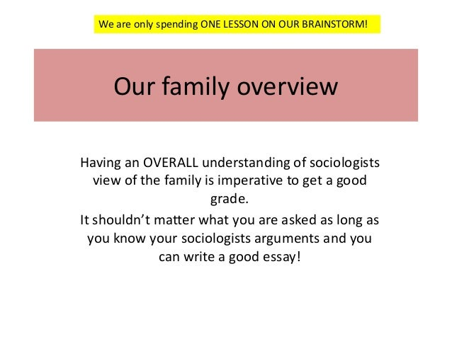 We are only spending ONE LESSON ON OUR BRAINSTORM!  Our family overview Having an OVERALL understanding of sociologists vi...