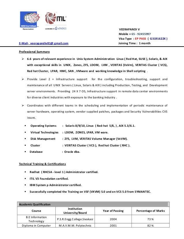 VEERAPANDI V Mobile + 65   92455997 Visa Type : EP PASS ( G3191622X ) E  Technology College Exposure U2013 UNIX Administration Linux ...