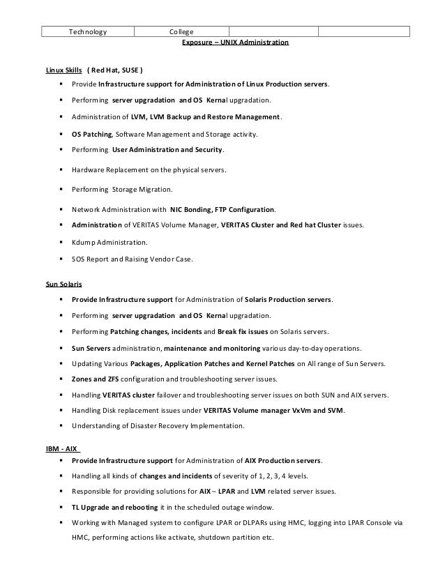 2. Technology College Exposure \u2013 UNIX Administration Linux