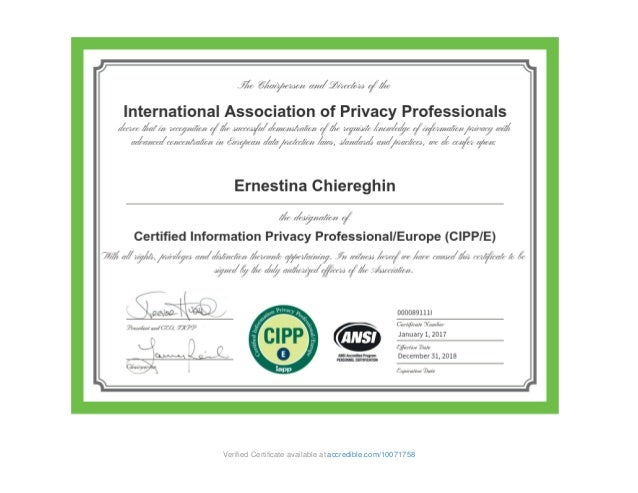 certificate iapp cipp slideshare upcoming