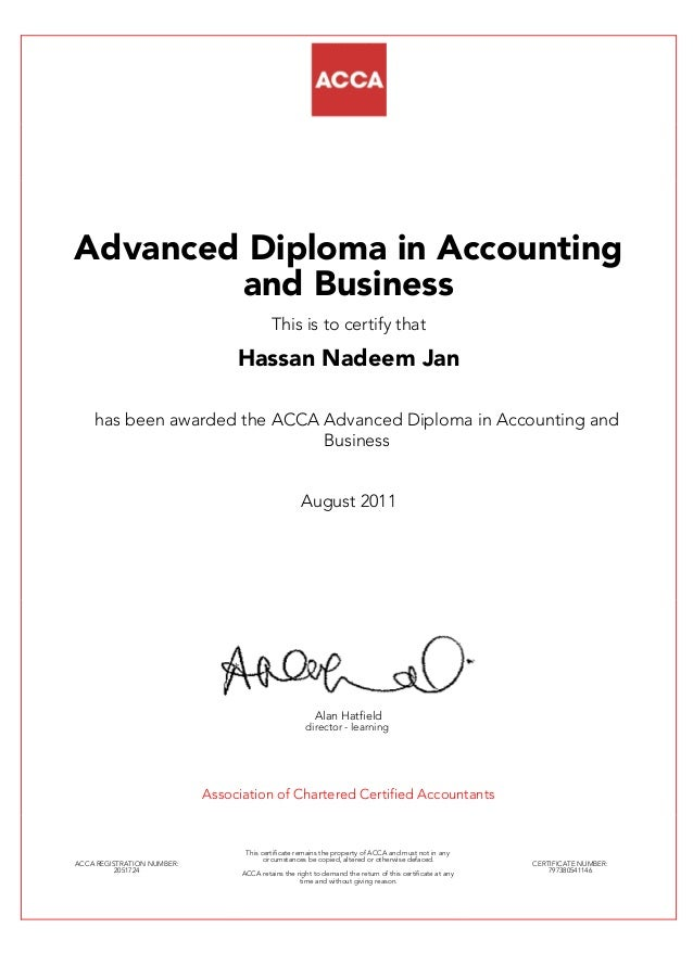 Acca Certificate Advanced Diploma In Accounting Business