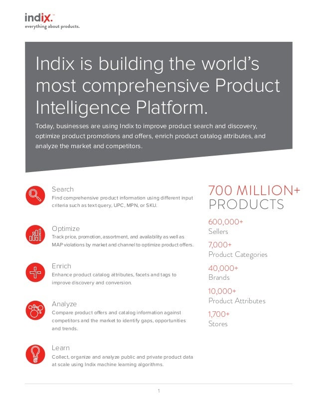 1 Indix is building the world's most comprehensive Product Intelligence Platform. Today, businesses are using Indix to imp...