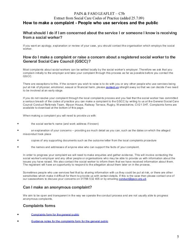 PAIN & FASO LEAFLET – C5b Extract from Social Care Codes of Practice (added 25.7.09) How to make a complaint - People who ...