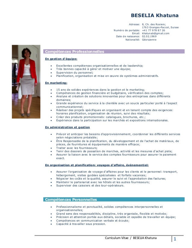Curriculum Vitae / BESELIA Khatuna 1 BESELIA Khatuna Adresse: 8, Ch. des Rosiers; 1763 Granges-Paccot, Suisse Numéro de po...