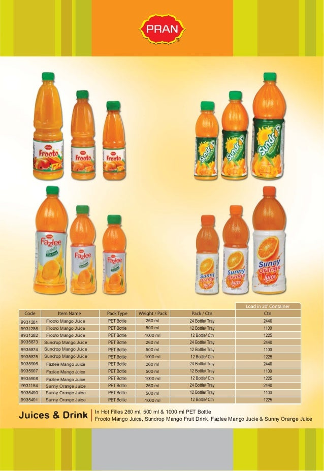 pran mango juice Marketing plan of pran  (non-returnable): this category of juice is found in non- returnable glass bottle in flavors of mango, guava and orange.