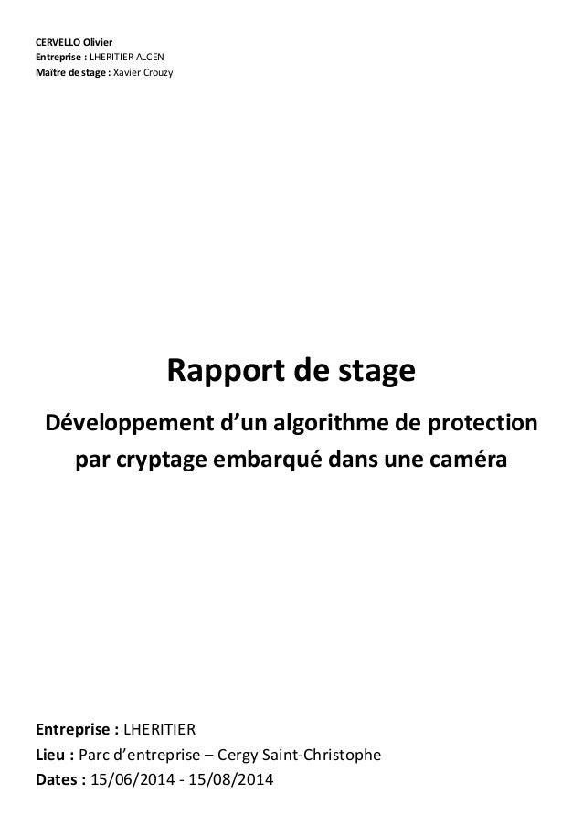 CERVELLO Olivier Entreprise : LHERITIER ALCEN Maître de stage : Xavier Crouzy Rapport de stage Développement d'un algorith...