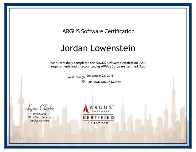 Jordan Lowenstein ARGUS Enterprise Certification