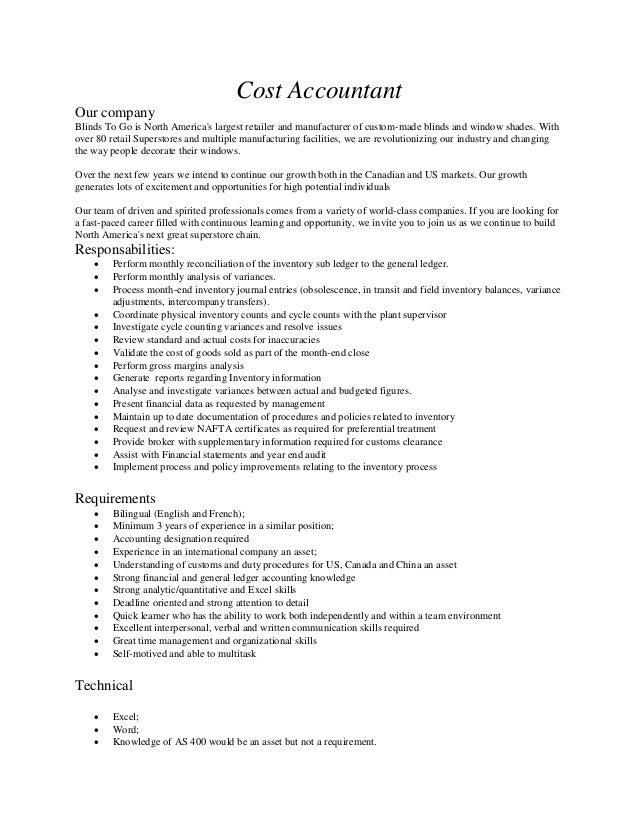 cost accountant job description - Khafre