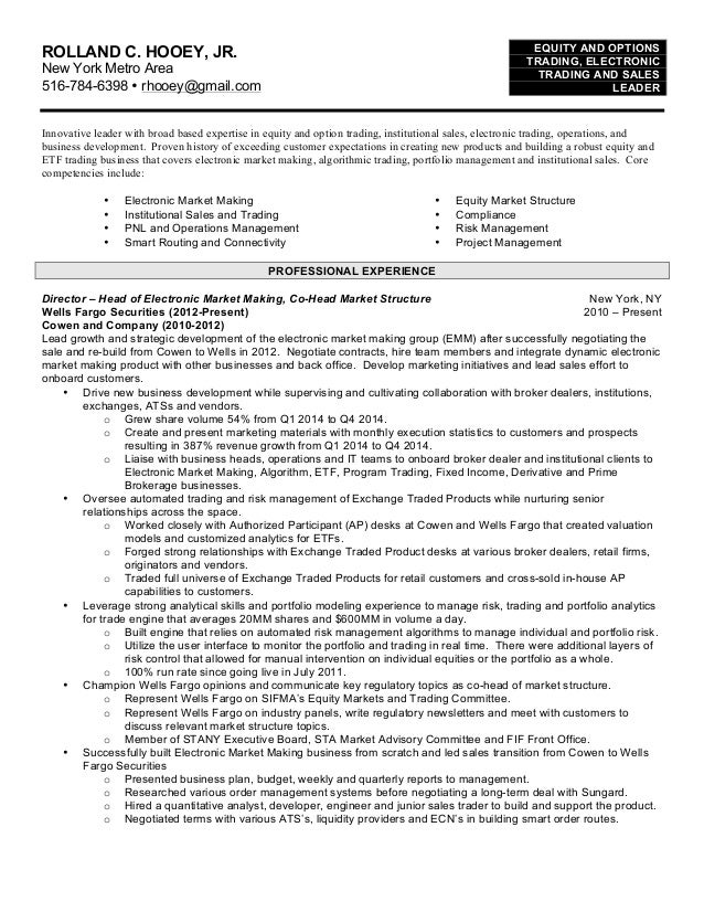 Options trader resume