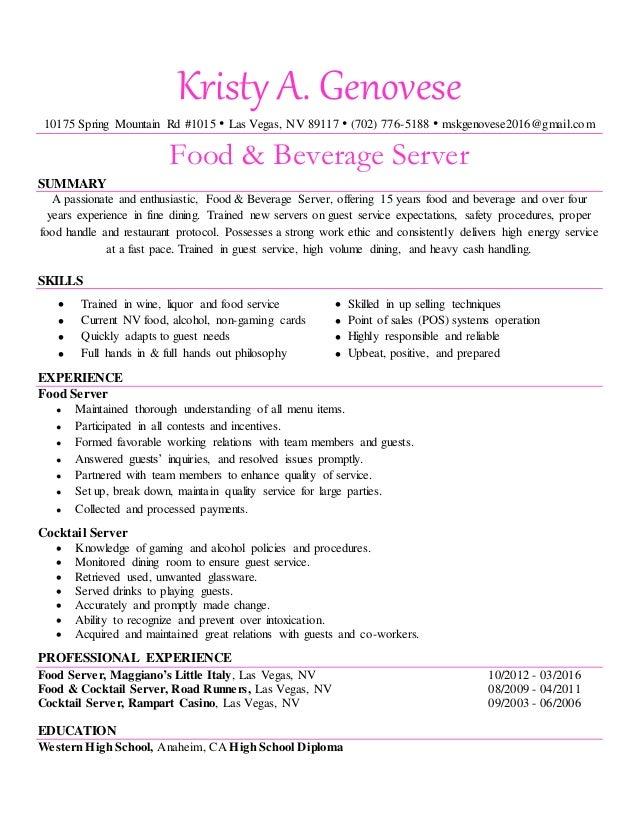 Kristy Genovese Food And Beverage Server Resume Pink
