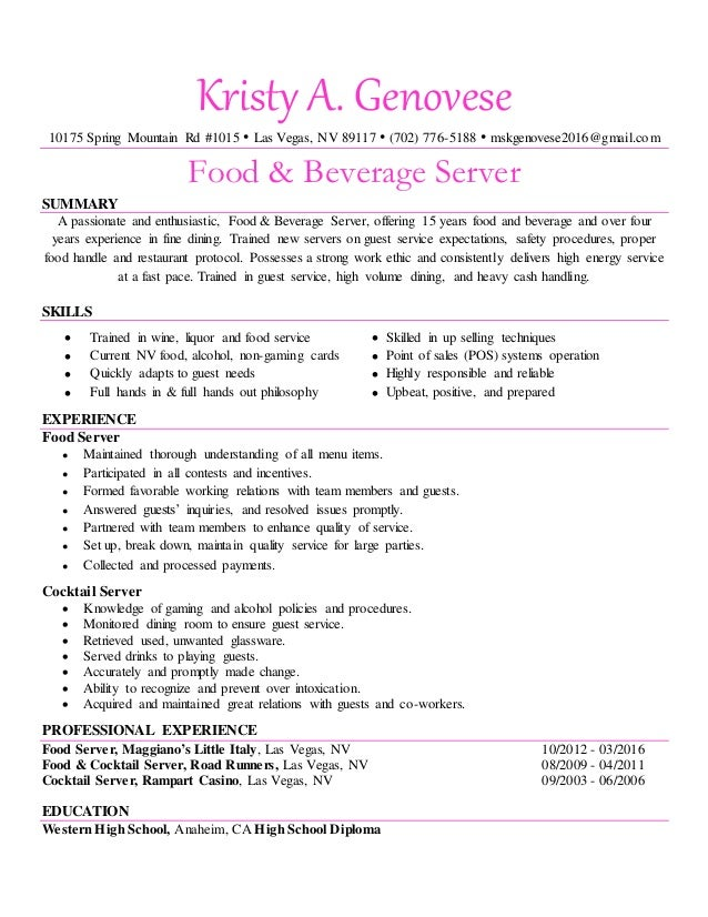 Kristy Genovese Food And Beverage Server Resume Pink