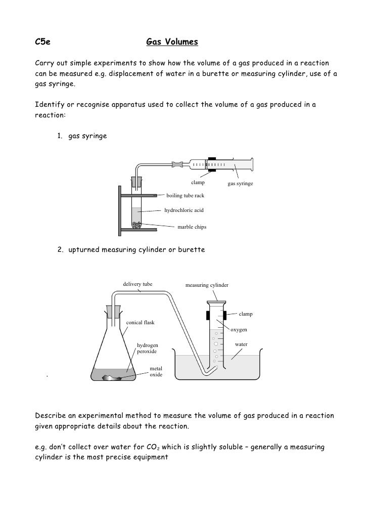 C5e                                 Gas Volumes  Carry out simple experiments to show how the volume of a gas produced in ...