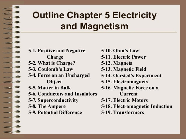 Outline Chapter 5 Electricity and Magnetism 5-1. Positive and Negative Charge 5-2. What is Charge? 5-3. Coulomb's Law 5-4....