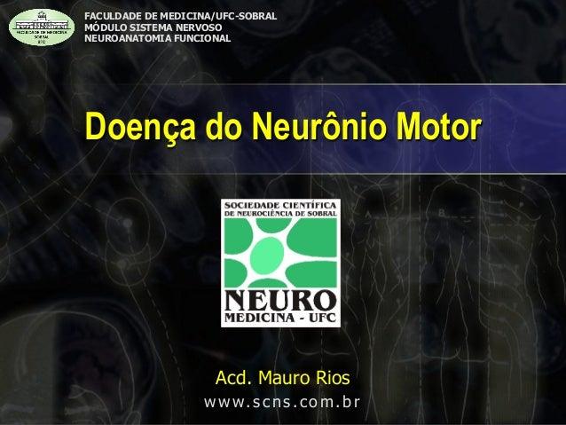 Doença do Neurônio Motor  FACULDADE DE MEDICINA/UFC-SOBRAL MÓDULO SISTEMA NERVOSO NEUROANATOMIA FUNCIONAL Acd. Mauro Rios ...