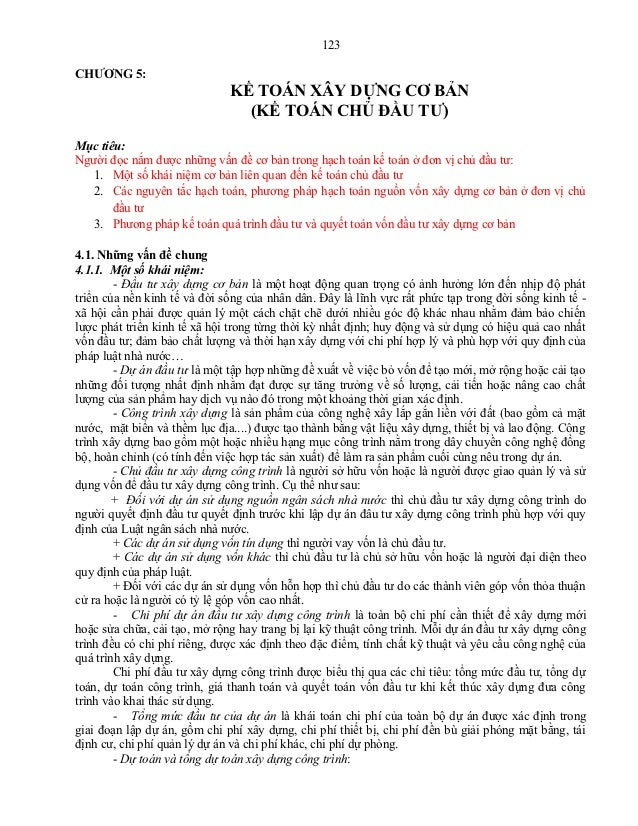 123CHƯƠNG 5:                              KẾ TOÁN XÂY DỰNG CƠ BẢN                                (KẾ TOÁN CHỦ ĐẦU TƯ)Mục t...