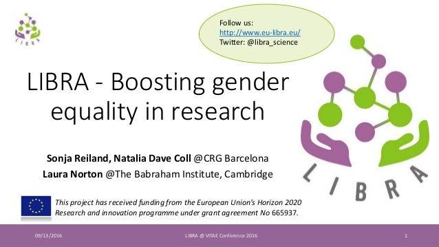 09/13/2016 LIBRA @ VITAE Conference 2016 1 LIBRA - Boosting gender equality in research Sonja Reiland, Natalia Dave Coll @...