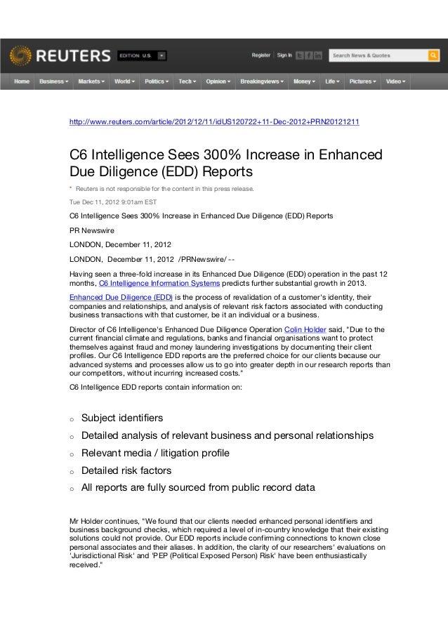 http://www.reuters.com/article/2012/12/11/idUS120722+11-Dec-2012+PRN20121211C6 Intelligence Sees 300% Increase in Enhanced...