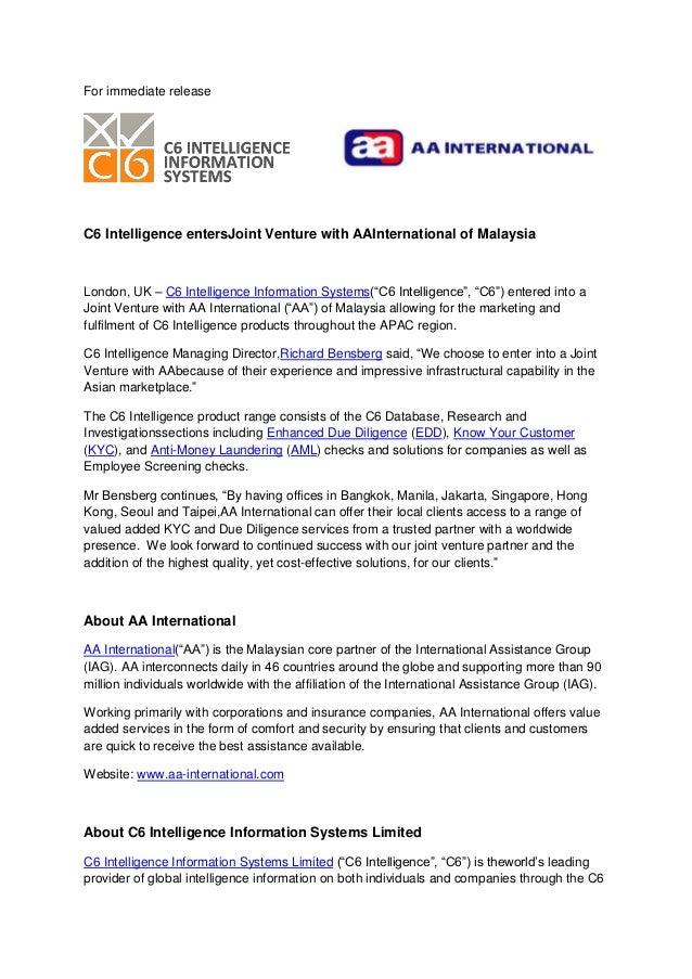 For immediate releaseC6 Intelligence entersJoint Venture with AAInternational of MalaysiaLondon, UK – C6 Intelligence Info...