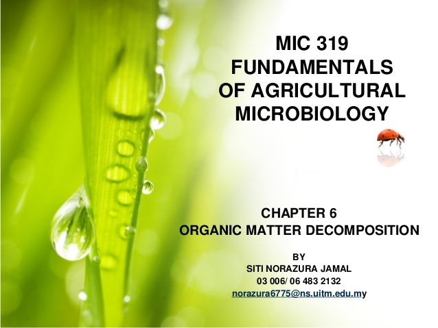 MIC 319 FUNDAMENTALS OF AGRICULTURAL MICROBIOLOGY  CHAPTER 6 ORGANIC MATTER DECOMPOSITION BY SITI NORAZURA JAMAL 03 006/ 0...