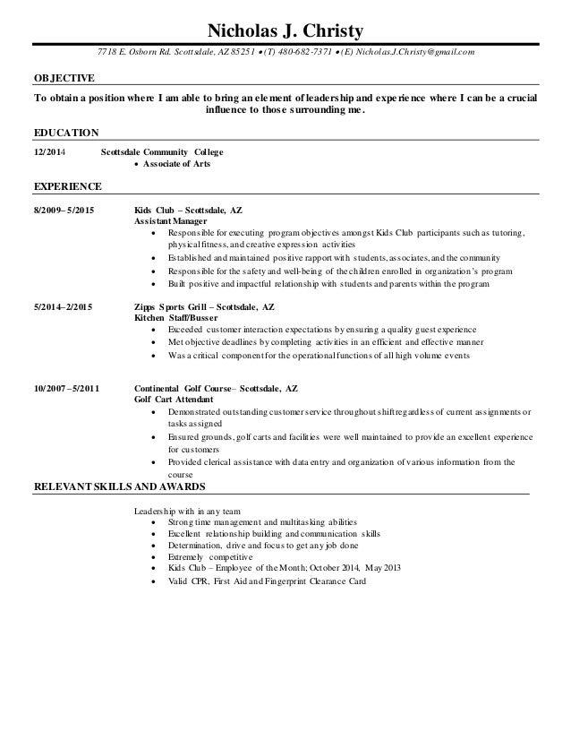 Nick Christy Resume. Nicholas J. Christy 7718 E. Osborn Rd. Scottsdale, AZ  85251  (