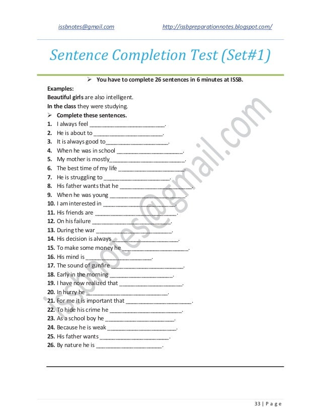 Images of Sentence Completion Test - #gepezz