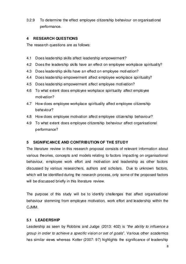 employee empowerment research proposal Employee empowerment must be managed with an approach of human resources characteristic which is in accordance to characteristics of job the main purpose of employee empowerment is for the supply of products and services that can generate value for customers by utilizing smart.