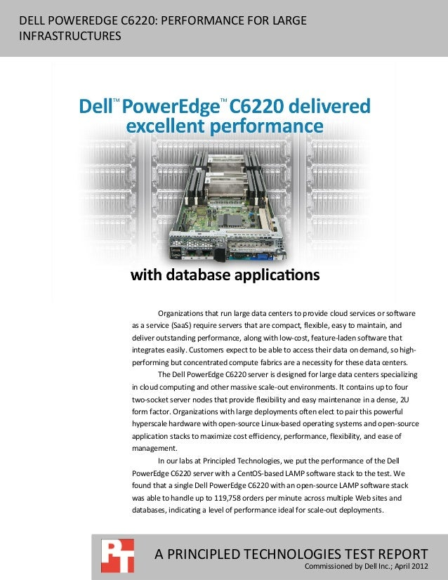 DELL POWEREDGE C6220: PERFORMANCE FOR LARGEINFRASTRUCTURES                        Organizations that run large data center...