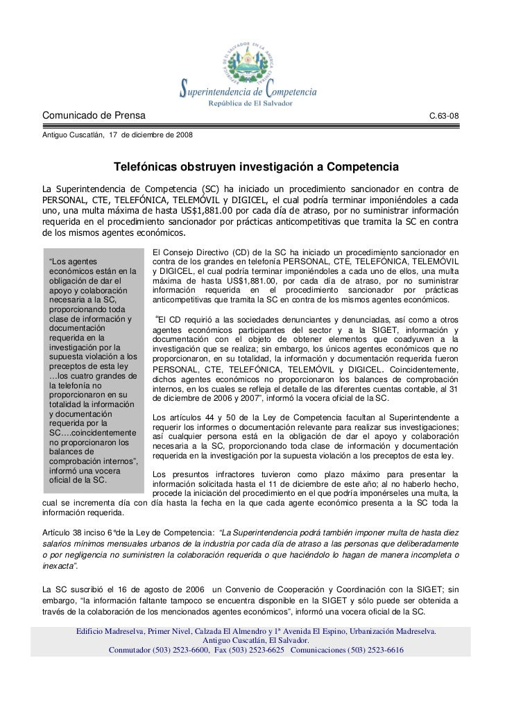 Comunicado de Prensa                                                                                         C.63-08  Anti...