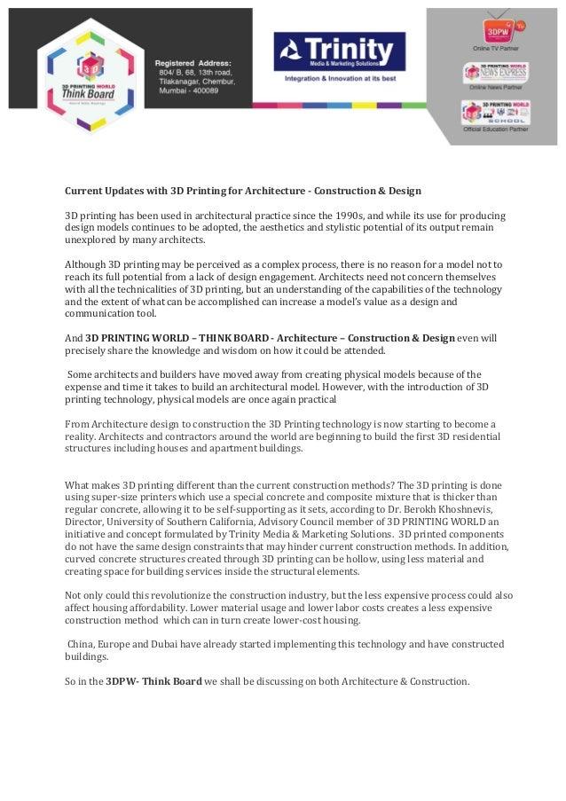 Architecture Design And Construction new - 3d printing world think board - architecture -construction des…