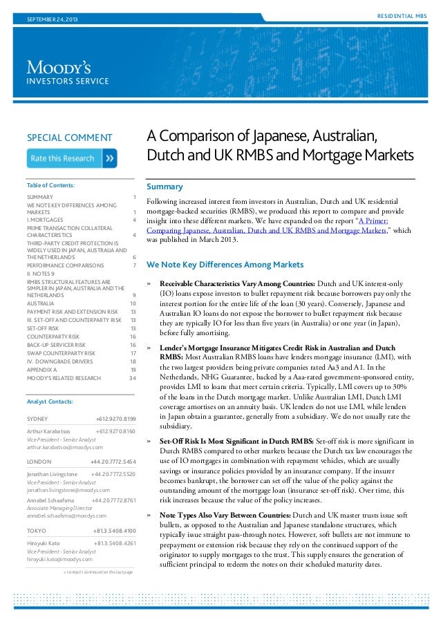 a comparison of japanese australian dutch and uk rmbs and mortgage