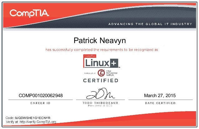 CompTIA Linux+ (Powered by LPI) certificate