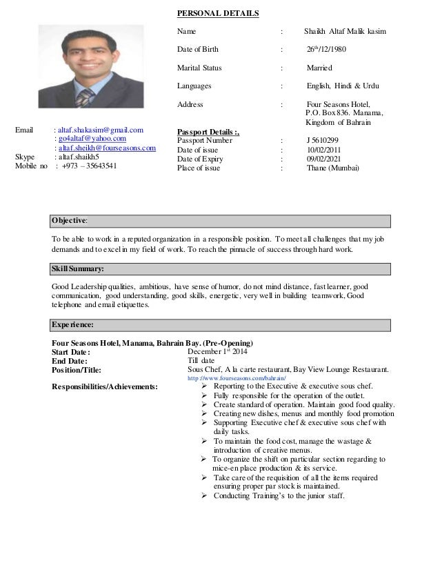 Curriculum Vitae Chef Juna