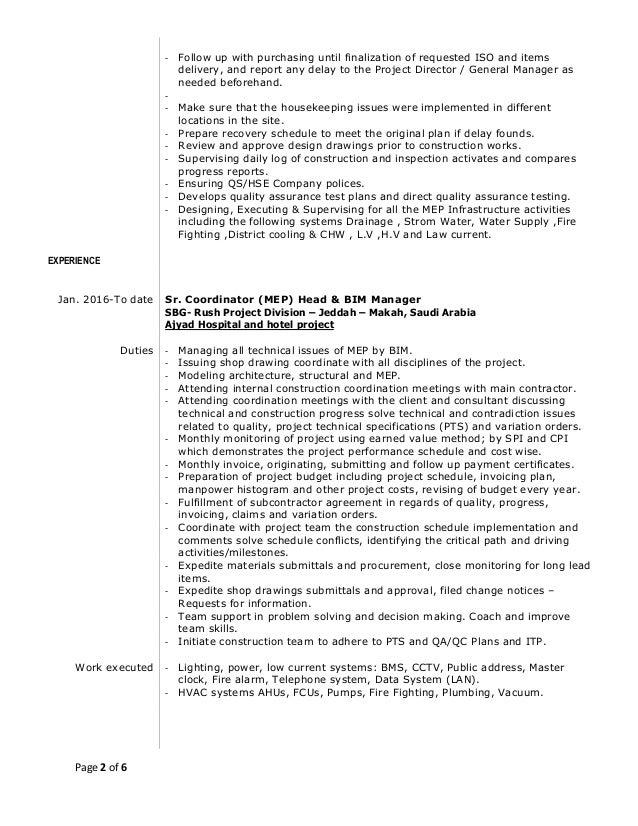 resume of islam m  elshora sr  coordinator mep  u0026 bim manager