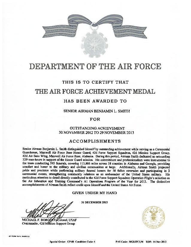 Af achievement medal pdf for Air force decoration citation