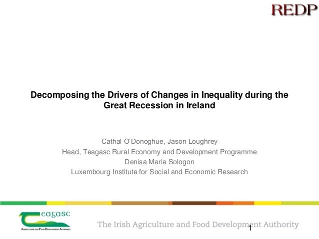 Decomposing the Drivers of Changes in Inequality during the Great Recession in Ireland Cathal O'Donoghue, Jason Loughrey H...