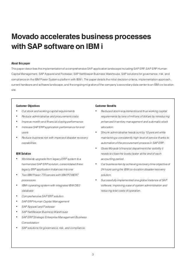 movado accelerates business processes with sap software on ibm i
