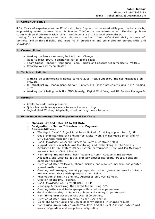 Windows Active Directory Administrator Resume   Sample Customer     Information Technology
