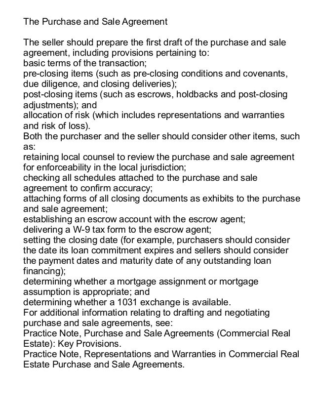 Commercial Purchase Agreement. 10 The Purchase And Sale Agreement