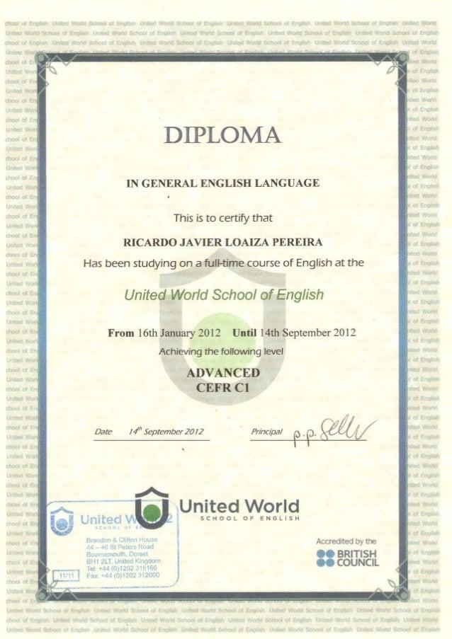 Certificado De Curso De Ingles