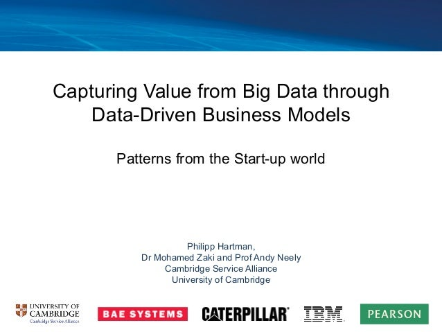 Capturing Value from Big Data through Data-Driven Business Models Patterns from the Start-up world Philipp Hartman, Dr Moh...