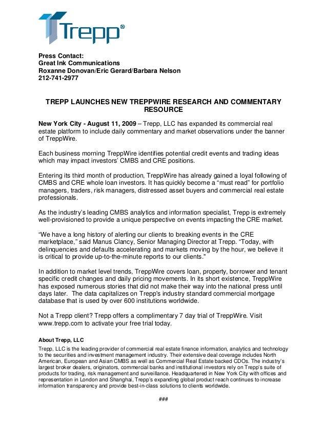 Launch of Trepp Wire PR Aug 09