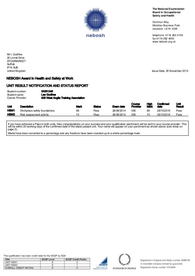NEBOSH Award In Health And Safety At Work UNIT RESULT NOTIFICATION AND STATUS REPORT The National