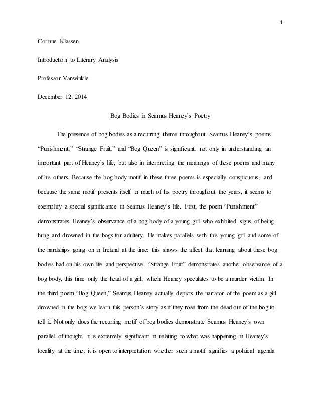 bog bodies in seamus heaney s poetry paper 1 corinne klassen introduction to literary analysis professor vanwinkle 12 2014 bog bodies in