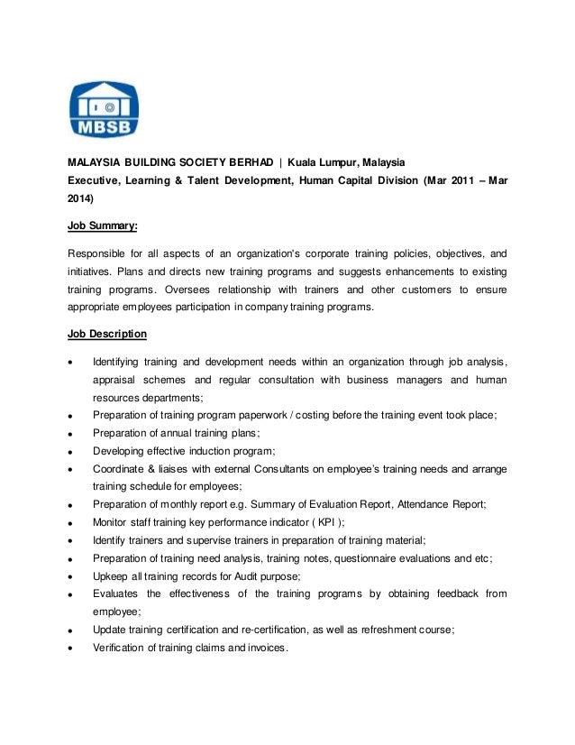 CV Azfar – Job Description Corporate Trainer