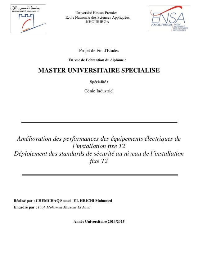 Projet de Fin d'Etudes En vue de l'obtention du diplôme : MASTER UNIVERSITAIRE SPECIALISE Spécialité : Génie Industriel Am...