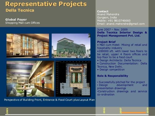 June 2007 – Nov. 2009 Della Tecnica Interior Design & Project Management Pvt. Ltd. Project Brief • Mall cum Hotel: Mixing ...