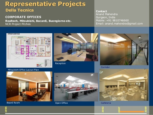 1995 2009 2007 2002 CORPORATE OFFICES Realtech, Mitsubishi, Bacardi, Buongiorno etc. NCR Project Pitches Reception Toilet ...