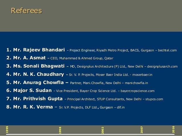 Referees 1995 2016 2007 2002 1998 1. Mr. Rajeev Bhandari – Project Engineer, Riyadh Metro Project, BACS, Gurgaon – bechtel...