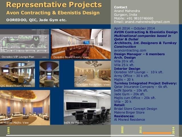 Representative Projects April 2014 – October 2014 AVON Contracting & Ebenistis Design Multinational companies based in Qat...