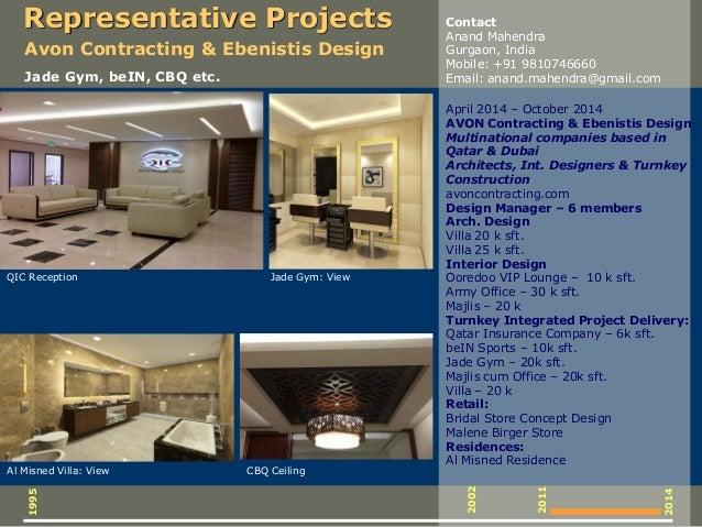 April 2014 – October 2014 AVON Contracting & Ebenistis Design Multinational companies based in Qatar & Dubai Architects, I...